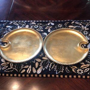Gold Leaf Wine Glass Holder Plates!